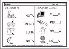 MATERIALES - Fichas de lectoescritura - N.    Fichas para el aprendizaje de la lectoescritura en letra mayúscula.    http://arasaac.org/materiales.php?id_material=983
