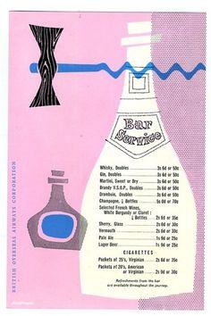 BOAC Bar Menu 1959