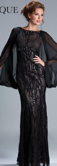 Janique Couture #long #formal #dress #black <3
