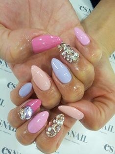 I wanna try the little claws like these. I'm for anything that elongates the hand and makes you look like a sexy glam witch of some sort. Almond, Easter Nail Art, Manicur, Nail Arts, Easter Eggs, Stiletto Nails, Pastel Colors, 3D Nails, Bling Nails