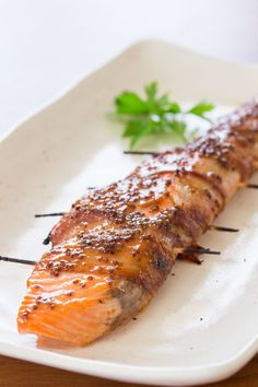 Bacon Wrapped Salmon with Maple Mustard Glaze
