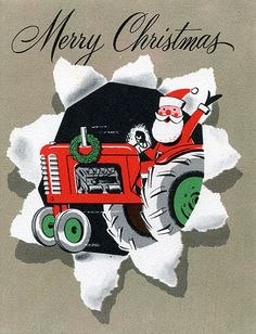 Santa on a tractor! Vintage card