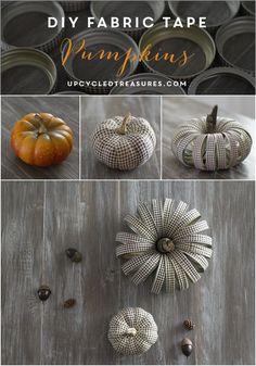 How to make DIY Fabric Tape Pumpkins for #fall home decor | upcycledtreasures.com #rustic #masonjar