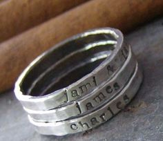 Hand-stamped stacking rings