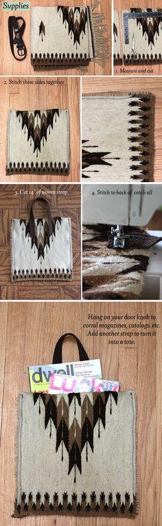 Make your own poncho bag!    http://www.abeautifulmess.com/2012/04/wool-poncho-tote.html#