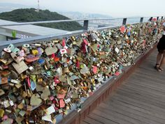 Namsan Tower - Seoul.  Locks left by couples