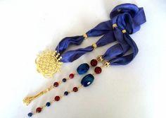 """Check out Gülden Köylü's """"Christmas Gifts - Scarf Necklace - Jewelry - OOAK - Necklace - Hittite Sun Symbol Silk Necklace - Blue L"""" Decalz @Lockerz"""