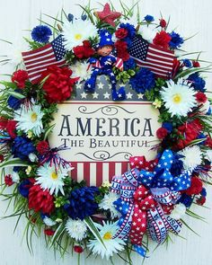 Patriotic Wreath reds, whites and blues.Love this wreath!!! Great for all Patriotic Holidays!!! Bebe'!!!