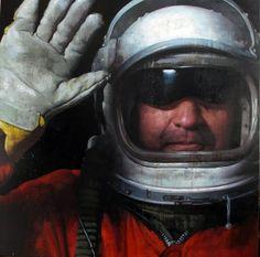 """François Bard, Cosmonaute, 2014, Oil on Canvas, 63"""" x 63"""" #Art #BDG #BDGNY #Contemporary #Painting #Portrait"""
