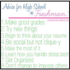 advice to freshmen in high school essay