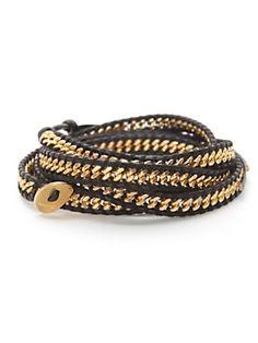 Chan Luu leather/chain wrap bracelet