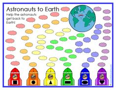 Astronauts to Earth printable game boards from