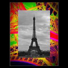 black and white eiffel on colorful eiffel ironwork post card