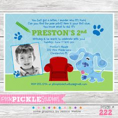 Blues Dog Personalized Party Invitation