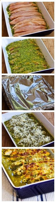 Baked Pesto Chicken..... So moist, baked it at 375 for 30 min (covered), then broiled with cheese for 5 min. Perfect! ,