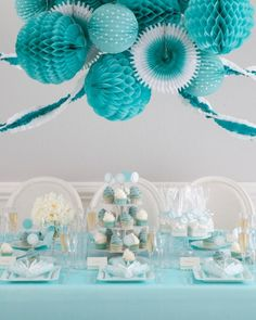 Turquoise blue party decor ideas.