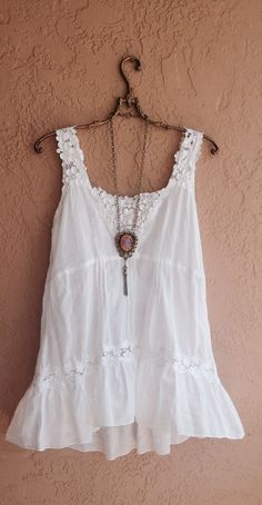Spring Beach Bohemian tunic lace   with fringe trim  by BohoAngels, $45.00
