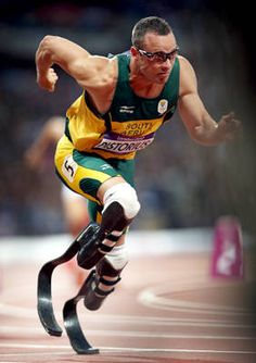 "Oscas Pistorius, first amputee to run track in the Olympics. WOW ""Determination"""
