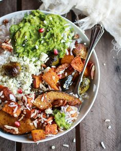 Roasted Harvest Veggie, Curried Avocado + Coconut Rice Bowls