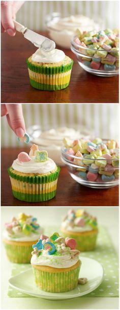 Lucky Charms Cupcakes #stpatricksday