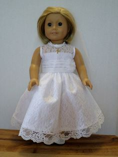 Wedding special occasion dress and veil fits american girl 18 inch