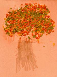 Fall-Tree  Arbre de tardor amb trossets de pasta.