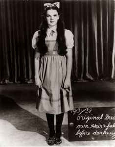 "Judy Garland wardrobe test as Dorothy in ""The Wizard of Oz"", 1939"