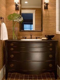 I LOVE the antique dresser vanity!  I will do this some day! baths, old dressers, bathroom vanities, wallpapers, bathroom designs, sink, modern bathrooms, powder rooms, design bathroom