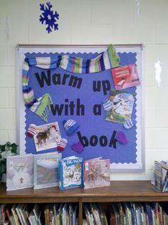 Winter reading bulletin board idea.