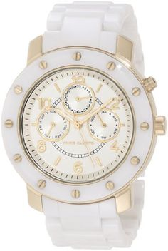 Vince Camuto Women%27s VC%2F5044GPWT Round White Ceramic Multi-Function Bracelet Watch