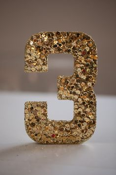 Individual Sequined and Glittered Wedding Table Numbers, Gold Sequins, Gold Glitter on Etsy, $12.00