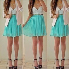 Ruffles Bodice Chiffon Dress - Mint