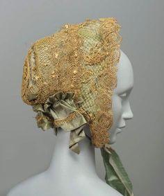 Dainty Straw Lace Bonnet. American, c. 1860.
