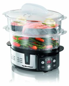 I bought this after a fellow dorm student showed me how to use his steamer of another brand. I chose this one because of the design and the removable top shelf that allows you to cook larger items. I can get 2 chicken breast (boneless skinless) chicken breast for $3.00, a bag of baby carrots for $1.25 and a small bag of small red potatoes for $1.50.