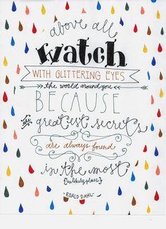 Roald Dahl Quote 8x10 Print | Custom Hand Lettering