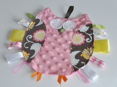 Owl taggie owl lovey owl sensory ribbon toy  by thetatteredpatch, $18.00