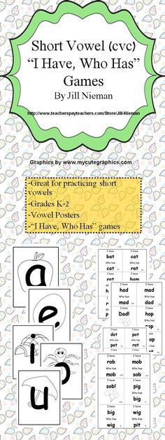 Short vowel printables and games