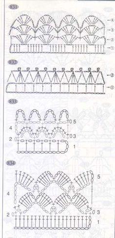 4 crochet edgings charts