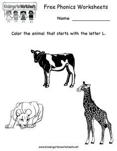 Kindergarten Free Phonics Worksheet Printable