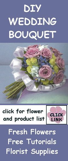 Make a Bouquet  - Lavender Roses and Green Button Pomps  - Product and Flower list plus instructions on creating this bouquet.