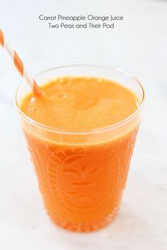 Carrot Pineapple Orange Juice Recipe on twopeasandtheirpod.com