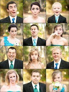 funny face wedding party pics? I like it!