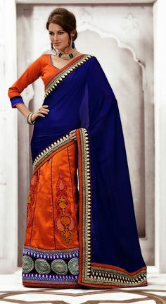 USD 96.01 Purple and Orange Silk Designer Lehenga Saree  33678