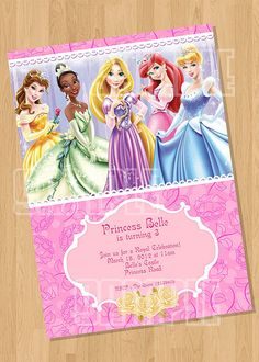 Disney Princess Birthday Party Invitation from Cuties Parties www.etsy.com/shop/cutiesparties2 $5.00