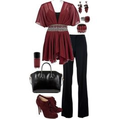 Casual Outfits | Red Chiffon Blouse | Fashionista Trends