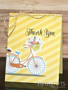 Create a quick and easy card using patterned paper; Heather Campbell - Paper Crafts & Scrapbooking blog: card making, thank you, bicycle