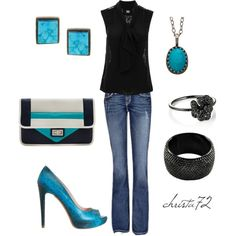Girls Night Out: jeans, sleeveless top, colorful shoes
