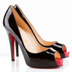 Christian Louboutin Peep Toe Pumps Black Very Prive $158.00  http://www.louboutinsbuying.com/sale/Christian-Louboutin-Peep-Toe-Pumps-Black-Very-Prive--1479.html