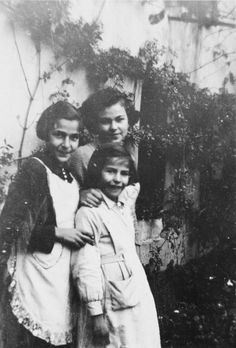 Three sisters pose outside the children's home in Zuen.  Pictured are Regina, Else and Toni Rosenblatt. Belgium. The details of the Red Cross children's rescue is at link.
