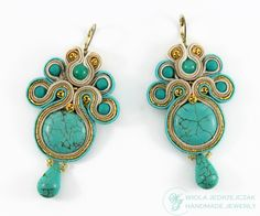 Soutache earrings with turquoise stone embedded, marble and other spheres have anti-allergic clasp, are impregnated and quite light as to its size. Length is about 6.5 cm. Width at its widest point is about 4 cm.  AVAILABLE